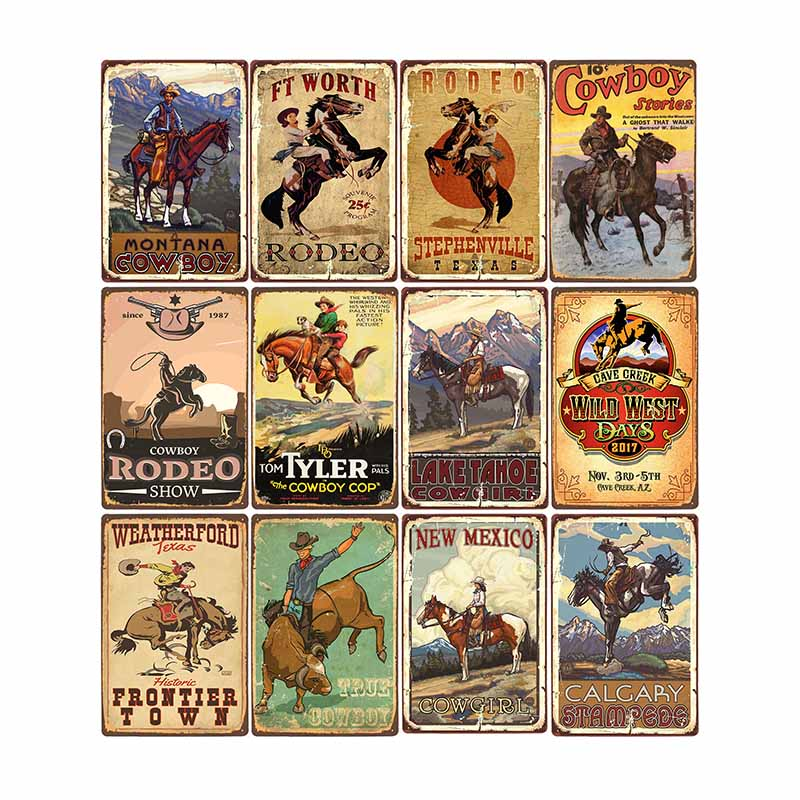 Western Cowboy Retro Metal Tin Sign Ride Horse Art Poster Bar Pub Cafe Wall Plates Vintage Plaque Home Decor 20x30cm