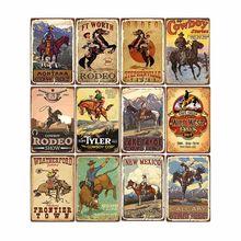 Ocidental cowboy retro metal estanho sinal passeio cavalo arte cartaz bar pub cafe placas de parede do vintage placa decoração para casa 20x30cm