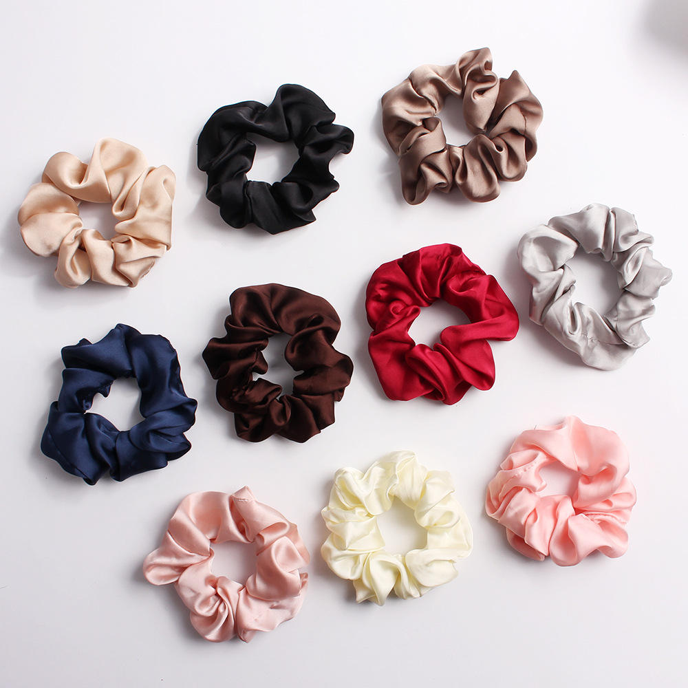 Fashion Women Solid Scrunchies Lady Elastic Hairbands Satin Hair Bands Girls Hair Tie Hair Skrunchy Accessories