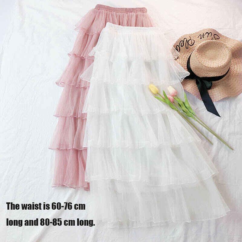 Женская Пышная юбка из тюля юбка с оборками с завышенной талией летняя эластичная длинная юбка макси юбки осень зима