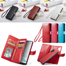 2 в 1 Магнитный чехол бумажник из искусственной кожи для samsung Galaxy Note 10 Plus 8 9 S10 Plus S10e S9 S8 Plus 9 отделений для карт