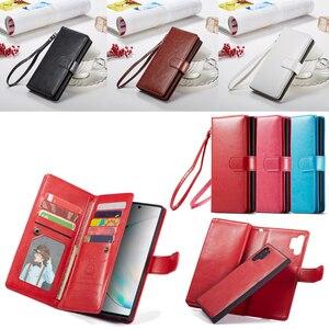 Image 1 - 2 en 1 Magnétique portefeuille en cuir synthétique polyuréthane étui pour samsung Galaxy Note 10 Plus 8 9 S10 Plus S10e S9 S8 Plus 9 Fentes Pour Cartes Flip Stand Sac