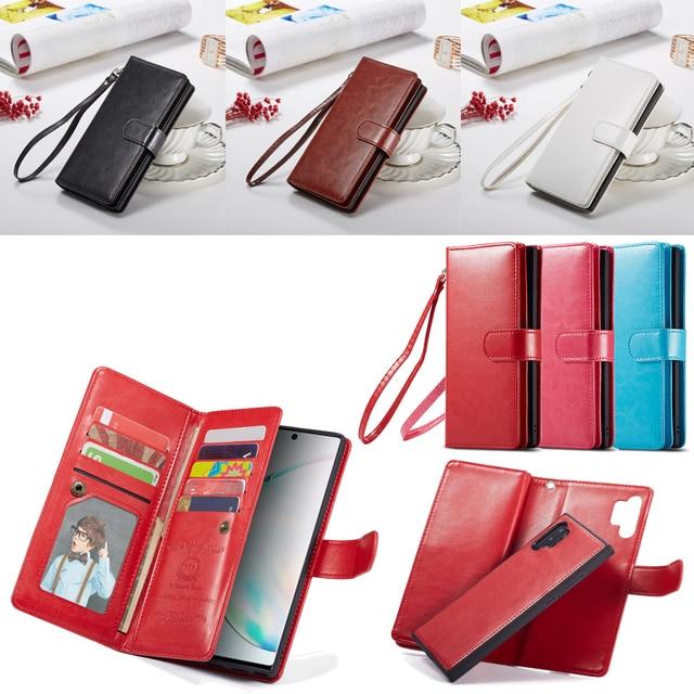 2 en 1 Magnétique portefeuille en cuir synthétique polyuréthane étui pour samsung Galaxy Note 10 Plus 8 9 S10 Plus S10e S9 S8 Plus 9 Fentes Pour Cartes Flip Stand Sac