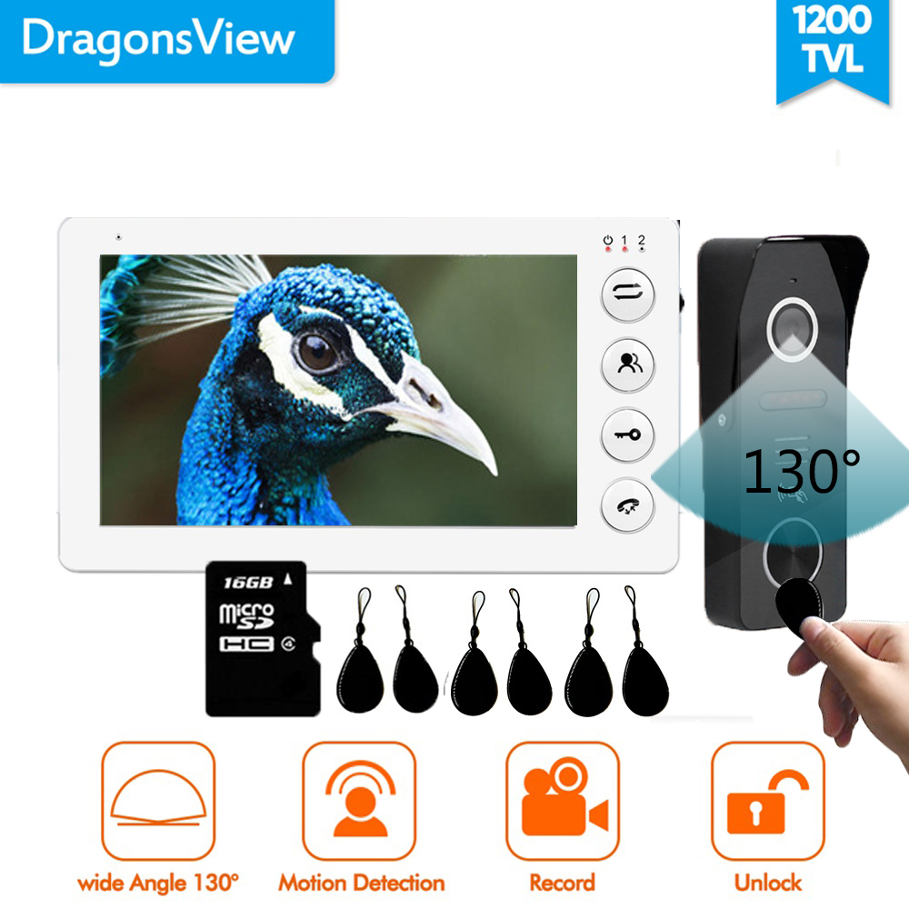 Dragonsview 7 Inch Video Door Phone Doorbell Camera System Video RFID Door Access Control System Unlock Record Wide Angle 130