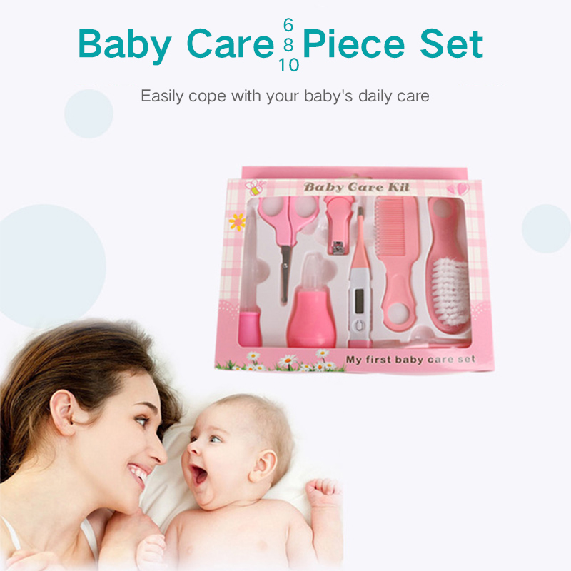 6/8/10Pcs/Set Baby Kids Nail Hair Health Thermometer Nose Cleaner Toothbrush Safety Tools Newborn Grooming Brush Kit Baby Care