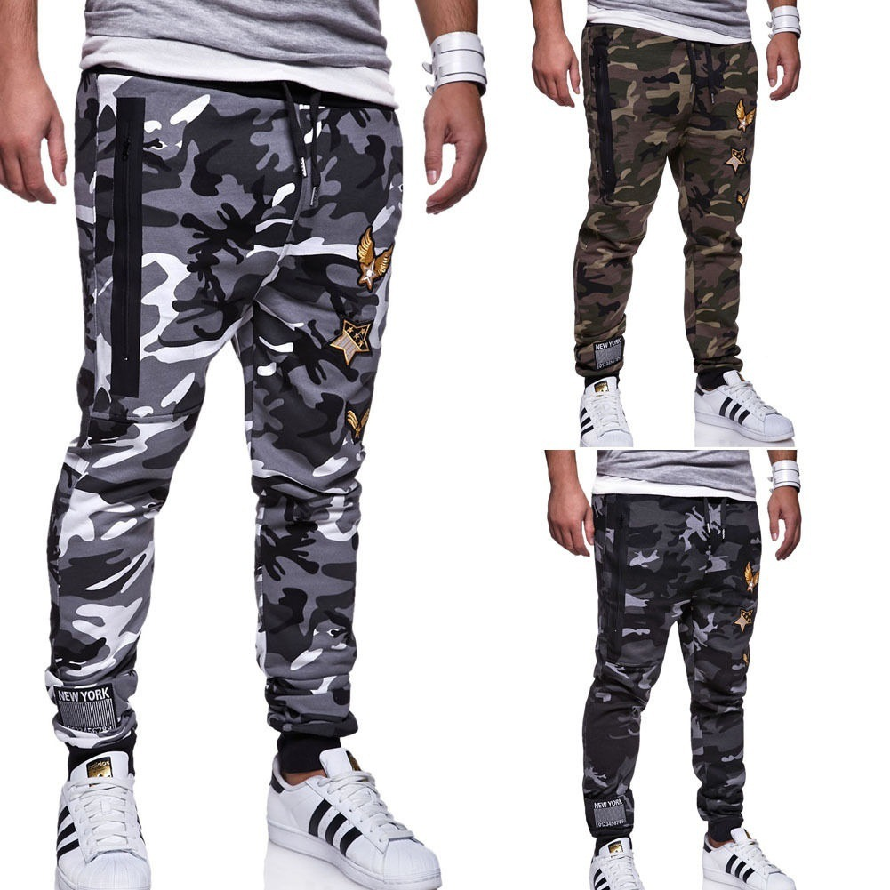 2018 Spring And Autumn New Style Men Fashion Ouma Camouflage Sports Casual Elastic Pure Cotton Skinny Trousers Athletic Pants Me