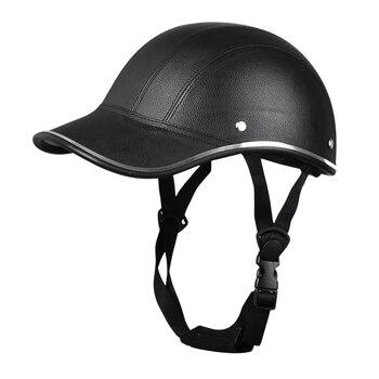 Cascos de cuero para motocicleta, casco protector de cara semiabiertas para bicicleta Scooter, casco duro de seguridad Unisex, casco para corredor, gorra de béisbol, seguridad