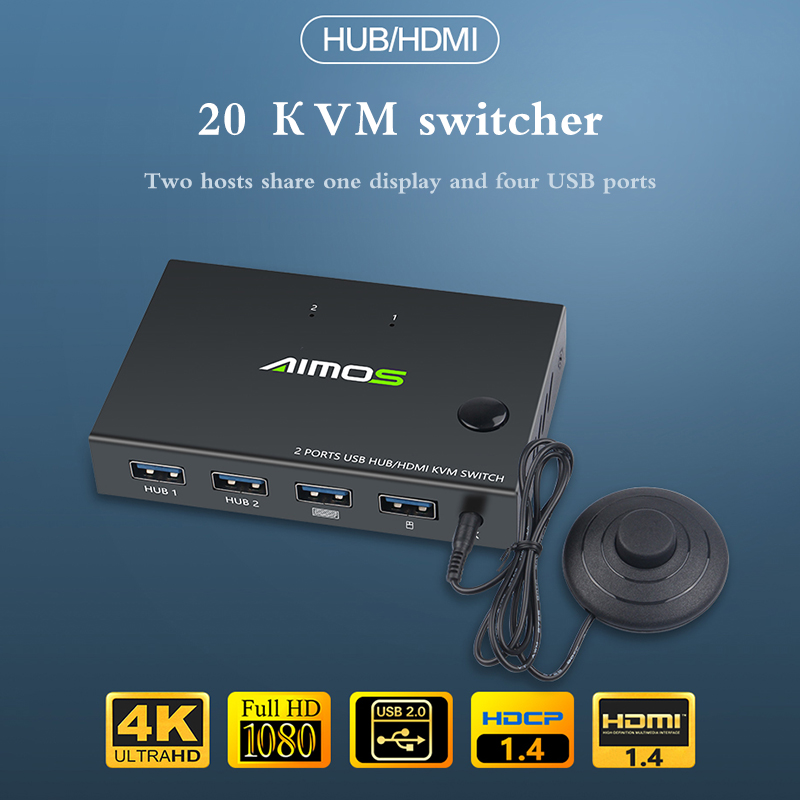 2020 2 In 1 Out HDMI KVM Switch Box Video Display 4K USB Switch Splitter For 2 PC Sharing Keyboard Mouse Printer Plug And Paly