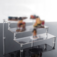 Acrylic Display Stand Detachable 3-Tiers Ladder Steps Shelf Rack For Doll Toy AU