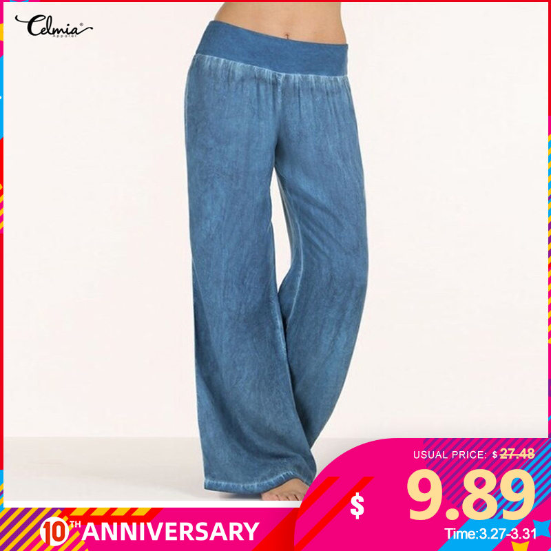 Women Pants Casual Celmia Denim Wide Leg  Jeans Elastic High Waist Trousers Womens Clothing Bottoms Pantalon Palazzo Plus Size