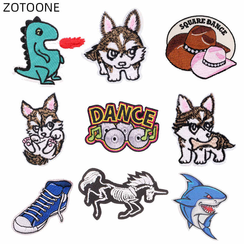 ZOTOONE Bordir Dinosaurus Parchs Besi Pada Anjing Ikan Patch untuk Pakaian Ransel DIY Garis Pakaian Stiker Huruf Lencana D