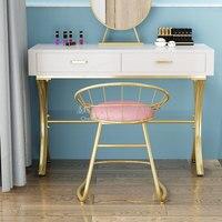 Modern Simplicity golden Iron Bar Stool High quality authenticChair Barstool Beauty Salon Furniture Make Up Chair Soft Armchair