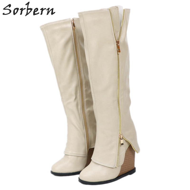 Sorbern Beige Knee High Wedge Boots High Heels Size 12 Custom Wide Fit Cowboy Boots Thick Heel Boots New 2019 Custom Colors