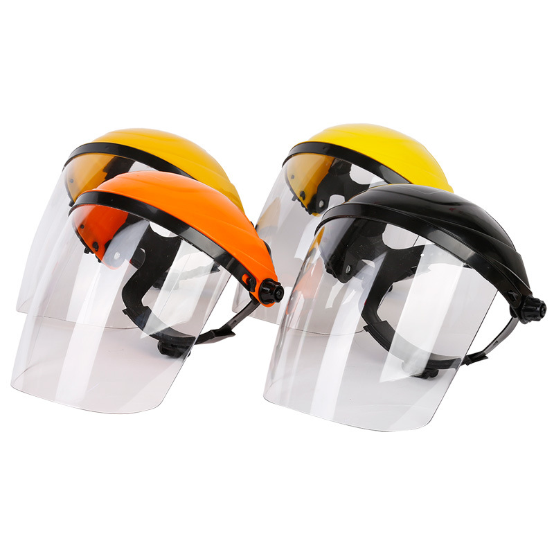 Head-Mounted Safety Hat With Face Shield Mouth Eye Protection Cover Mask PC Transparent Anti-dust Safety Protective Visor