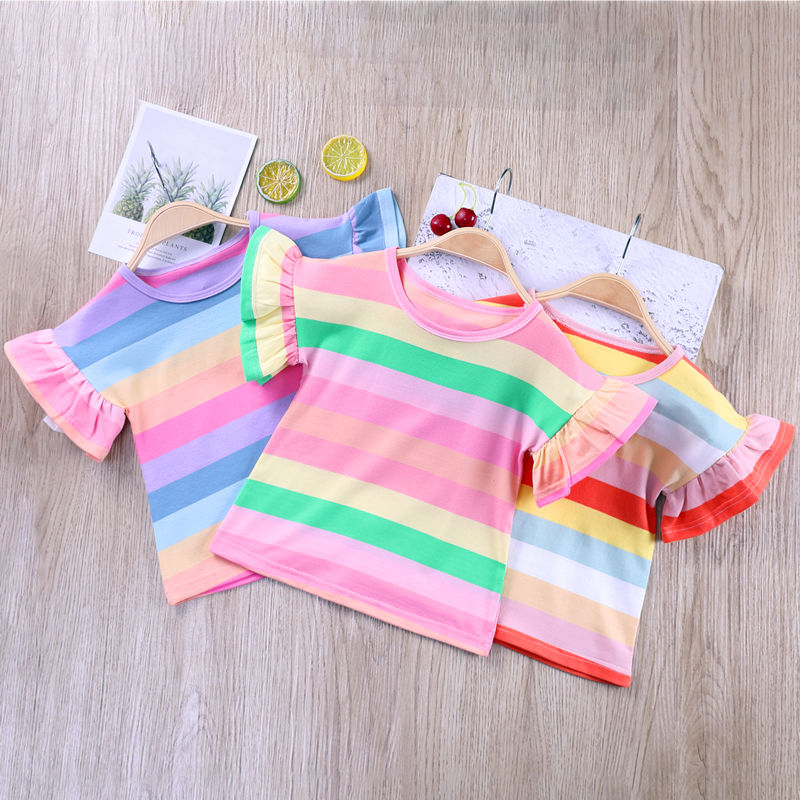 VIDMID Summer Fashion  T-shirt Children Girls Short Sleeves  Tees Baby Kids Cotton Tops For Girls Clothes   1-8Y  P1055 1