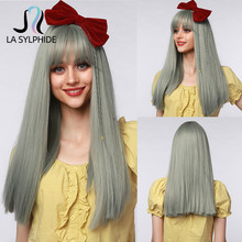 Synthetic Wig Gray Hair Silver Bangs Heat-Resistant Party Women Cosplay Straight Long