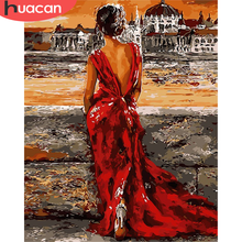 HUACAN-pintura por número de chica sobre lienzo, regalo de arte pintado a mano, fotos artesanales por número para Kits para adultos, decoración del hogar