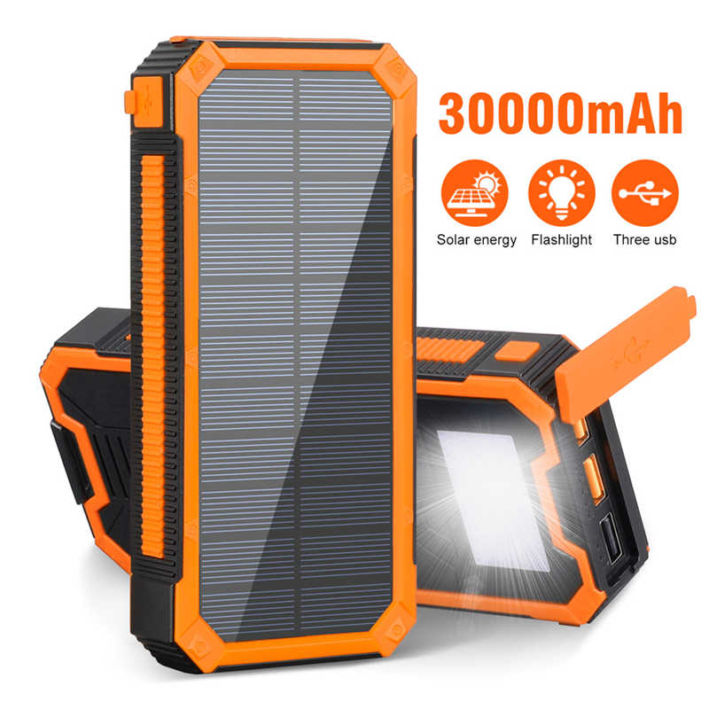 30000mAh Solar Power Bank Tragbare Ladegerät PD18W USB Typ C Poverbank mit Wasserdicht SOS LED Licht Power für iPhone xiaomi