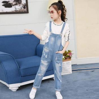 цена на Children Overalls Autumn Boys Girls Denim Suspenders Jeans for Teen Fashion Hole Ripped Jeans Pants Casual Kids Denim Jumpsuit