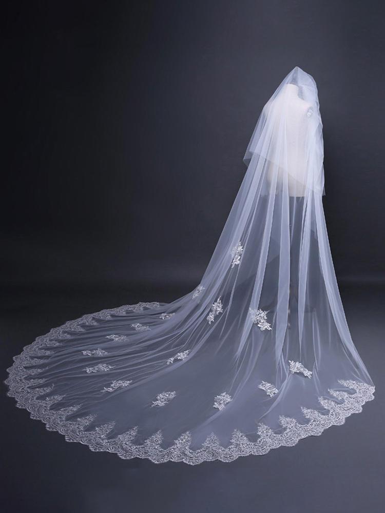 Swanskirt Customized Wedding Veil Long trailing veil Wedding Dress Bridal Veils ACC