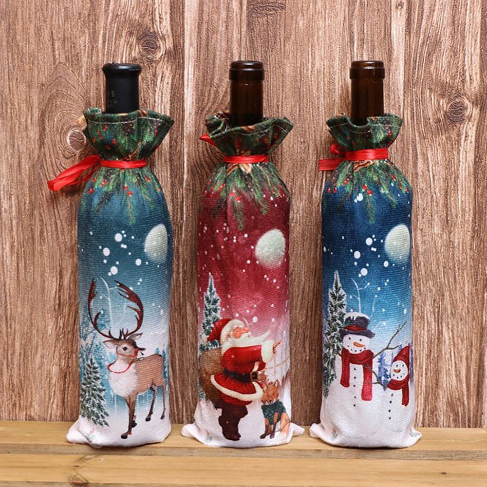 1pcs New Year 2020 Christmas Wine Bottle Dust Cover Bag Santa Claus Noel Dinner Table Decor Christmas Decorations For Home