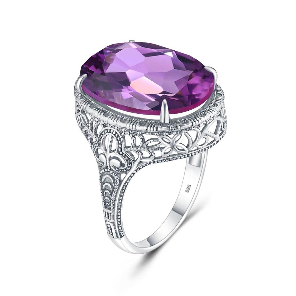 Ring Women Silver 925 Amethyst Rings Real Sterling Silve 925 Prong setting Oval Amethyst Gemstone Female Wedding Fashion Jewely