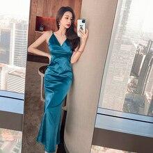 Сексуальное женское платье на бретельках с V-образным вырезом, вечернее платье 3234 #