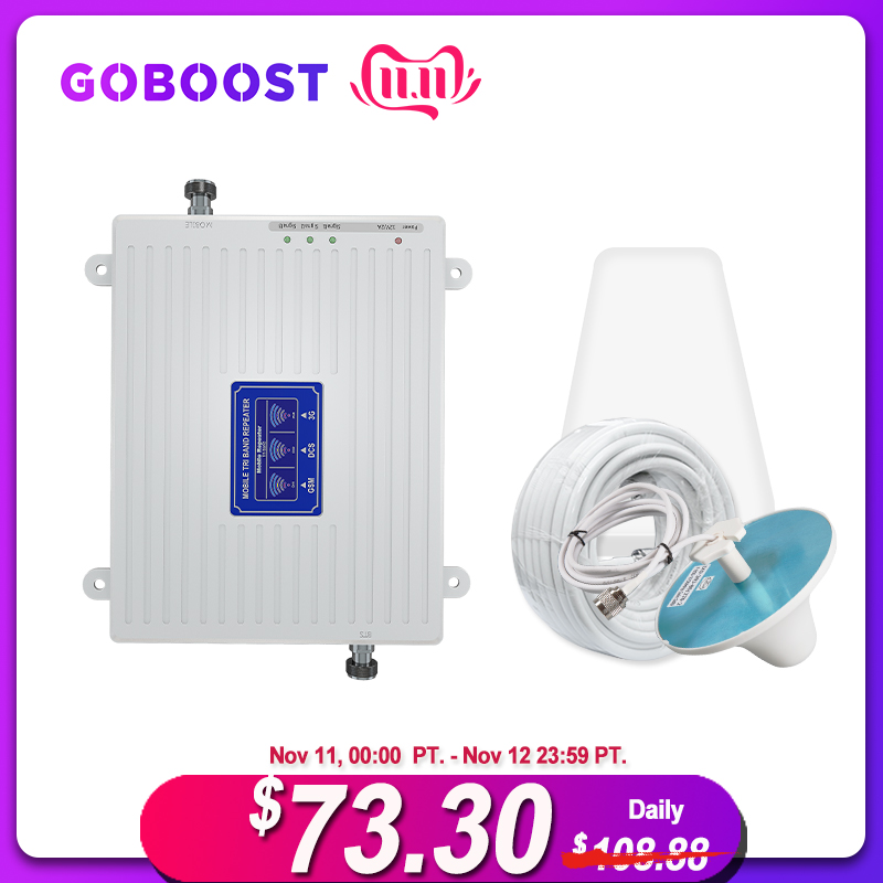 2G 3G 4G Tri Band Signal Repeater Cellular Signal Booster GSM 3G 4G 900 1800 2100