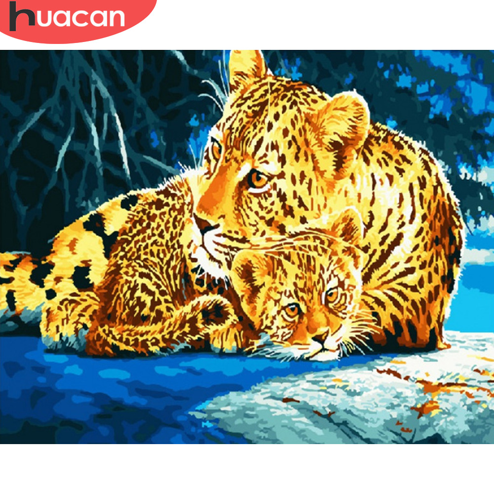 HUACAN Pictures By Numbers Leopard Animals Oil Painting By Numbers Kits Drawing Canvas DIY Winter Hand Painted Home Decor
