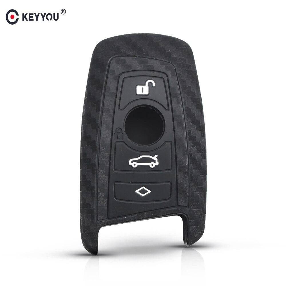 KEYYOU Carbon Fiber Silicone Car Key Case Fob Cover For BMW 1 2 3 4 5 6 7 M Series X3 X4 F20 F22 F30 F31 F36 F10 F11 F07 F12 F01