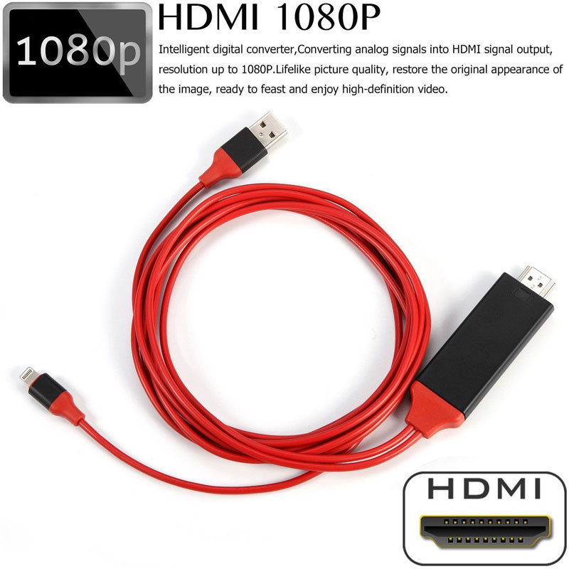 8 Pin to HDMI Cable HDTV TV <font><b>Digital</b></font> <font><b>AV</b></font> <font><b>Adapter</b></font> 2M USB HDMI 1080P Smart Converter Cable for <font><b>Apple</b></font> TV for IPhone HD Plug and Play image