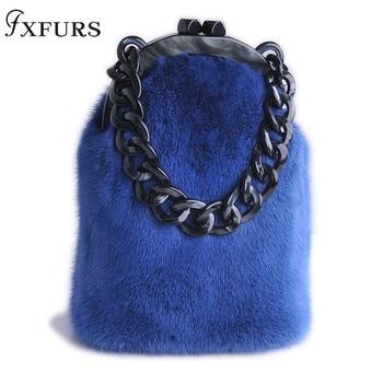 2020Fxfurs fashion New Mink Fur Bags Women Leather Messenger Fashion Solid Female Flap Ladies Crossbody