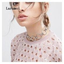 Laramoi панк круги цепь до ключиц для женщин хип-хоп красивое ожерелье-Чокер Модные ювелирные изделия подарок для друзей на день рождения