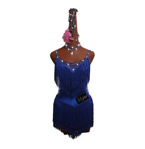 Image 3 - Glanzende Steentjes Latin Dans Jurk Vrouwen Salsa Kostuums High end Dans Custom Fluorescerende Blauw Kwastje Schuin Latin Jurken