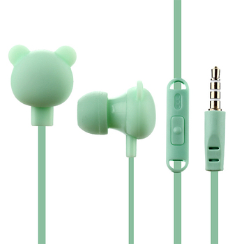Noise Reduction Lightweight Bear Portable Audio With Microphone Cartoon Bright Colors Gift Wired Headset For IOS Android In Ear image