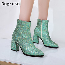 Sexy Sequin Boots Women Shoes Woman High Heels Pointed Toe Ankle Boots Ladies Zipper Shining Leather Shoes Bota Feminina 2019 sestito woman embroidery rhinestone decorated ankle boots ladies pointed toe sweety bowtie high heels shoes woman zipper shoes