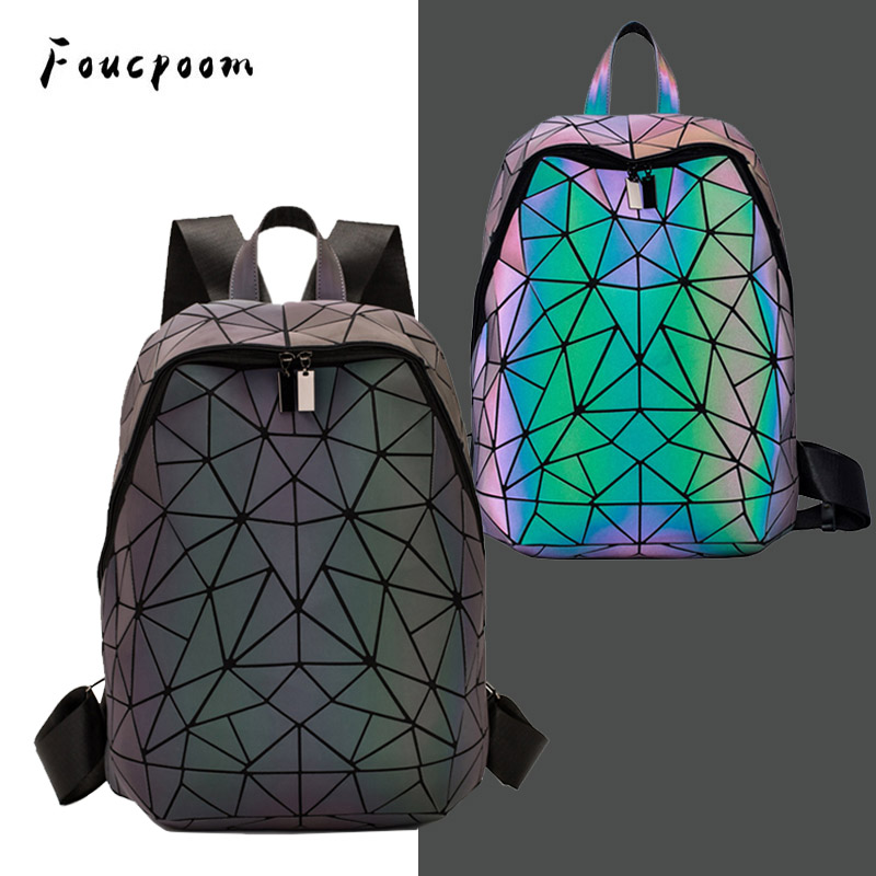 Luminous Backpacks Women Geometric Laptop Backpack For Men Shoulder Backpack School Holographic Rucksack Female Trave School Bag image