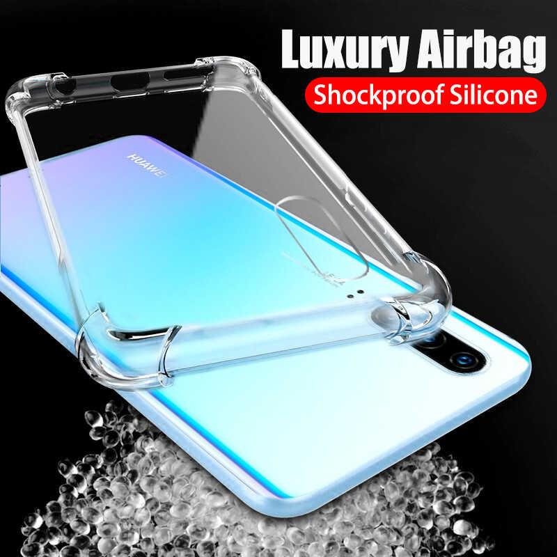 Transparente airbag para huawei mate 30 pro p30 p20 p40 lite p smart 2019 casos honor 20s 20 10 lite 10i 8x 9x 9a cubierta suave