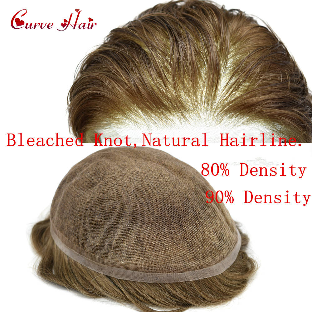 Full French Lace Human Hair Toupee For Men 80%-90% Light Density Full Lace Mens Replacement System Black Brown Blonde Grey Color
