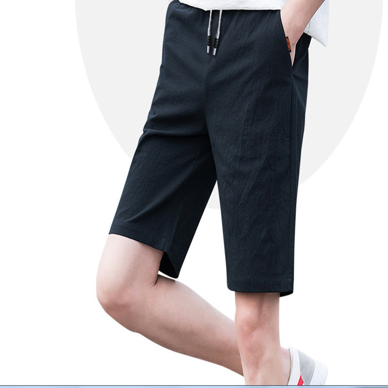 Large Size Men'S Wear Men Loose And Plus-sized 5 Bermuda Shorts Youth Plus-sized Flax Harem Short Shorts