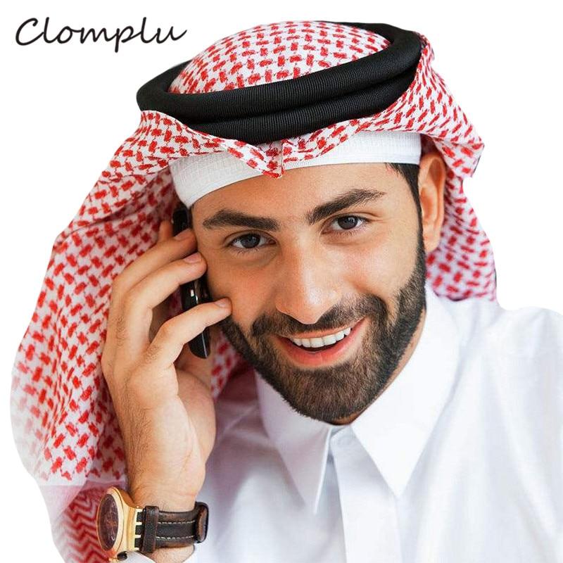 Clomplu Muslim Prayer Hat/Cap Islam Arabic Saudi Arabia Turban Ramadan Fashion Plaid Muslim Hats Islamic Clothing Men Head Band