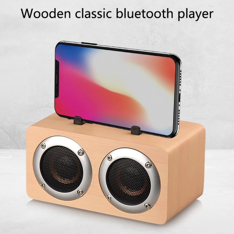Wooden Portable Mobile Stand Bluetooth Double Speaker Home 1200 mAh Mobile Computer Audio Wireless Speaker for Gift