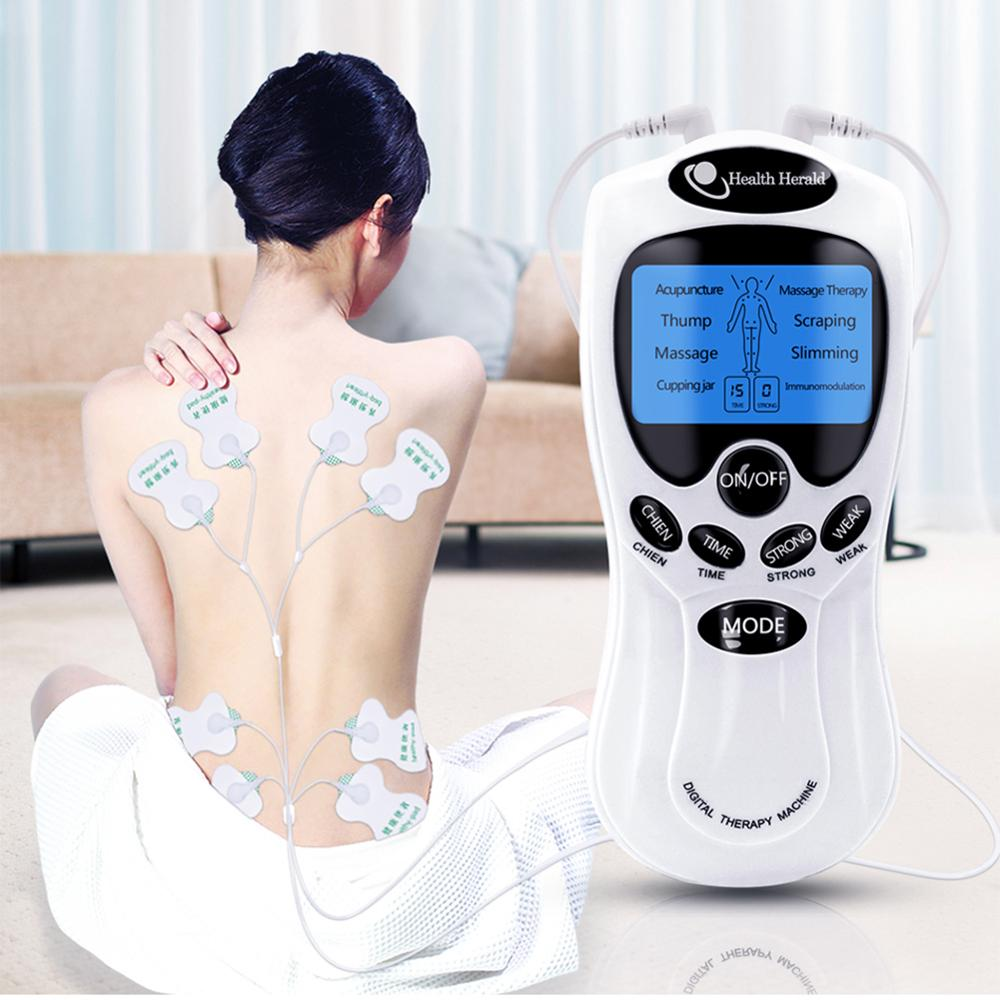 8 Modes Electric Herald Tens Acupuncture Body Massage Digital Therapy Machine Back Neck Foot Healthy Care Gift Data Cabl