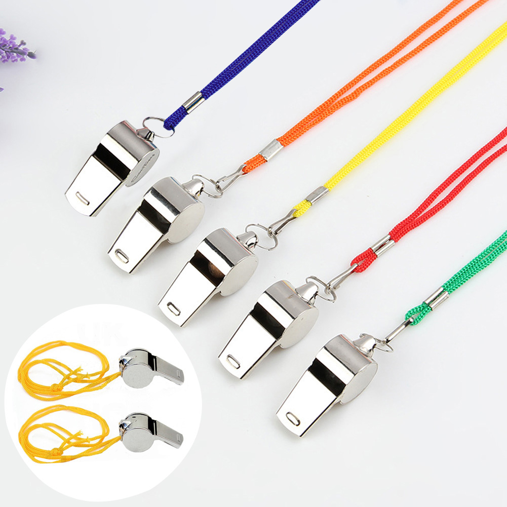 Portable Referee Whistle Stainless Steel With Lanyard Race Smooth Outdoor Loud Sound Wear Resistant Sports Competition Game