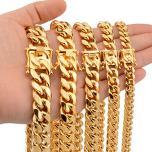 цена на Cuban Link Chain Hip Hop Thick Necklace Men Titanium Steel Gold Silver Mens Necklaces Trend Chunky Minimalist Rapper Jewelry