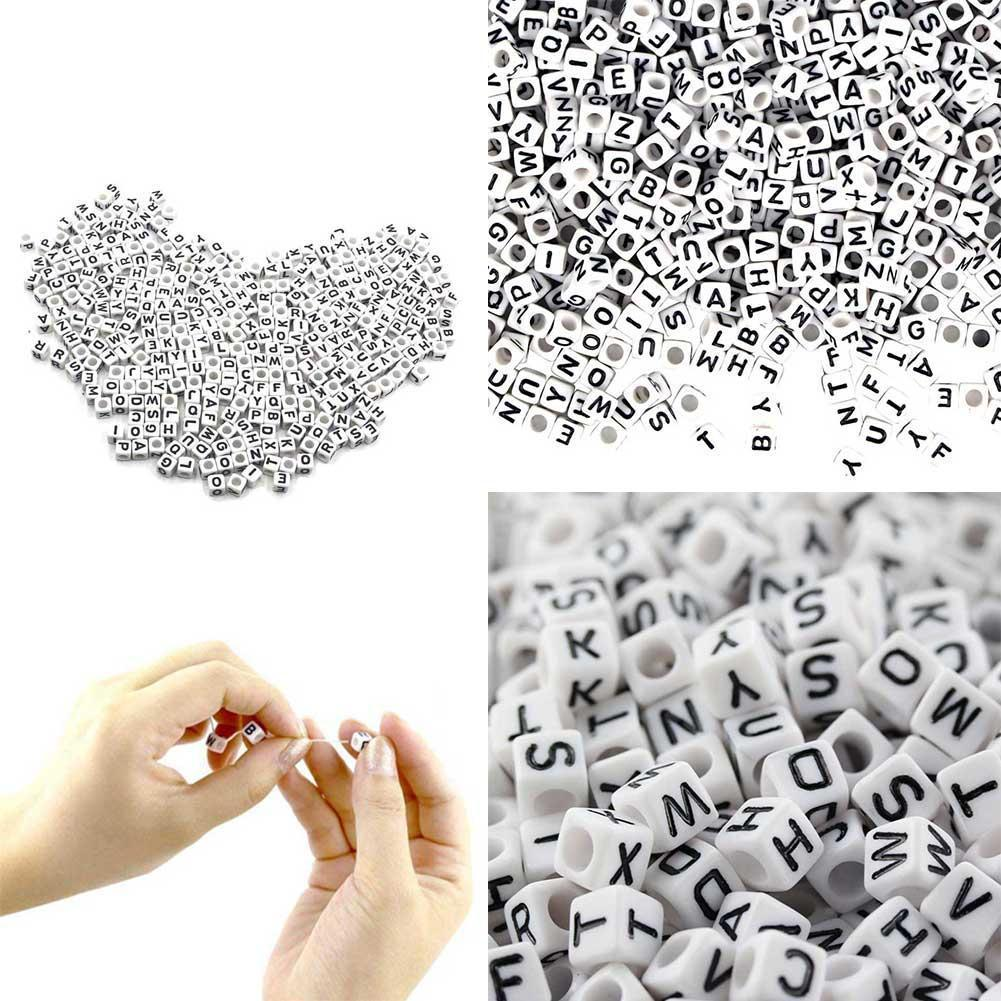 Square White Number 6MM 100 One Pack DIY Square Letter Black Acrylic Cube Letters Beads Letters Beads White Acrylic