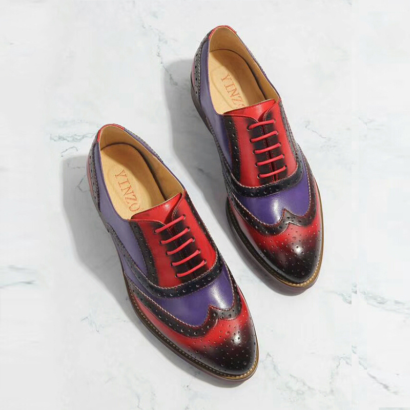 Delle donne scarpe basse 2019 del cuoio genuino punta rotonda appartamenti piattaforma brogue di estate delle signore donna gladiatore piatto scarpe con suola in gomma-in Ballerine da donna da Scarpe su  Gruppo 2