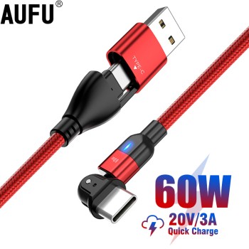 AUFU 180 Rotate PD 60W USB Type C Cable QC3.0 Fast Charge Data Cable for Macbook Samsung Xiaomi USB C Cable for Huawei P40