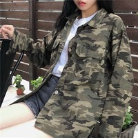 Fashion Women Loose Camouflage Jackets Turn Down Collar Long Sleeve Button Up Coats Print Casual Army Green Outwear Jacket