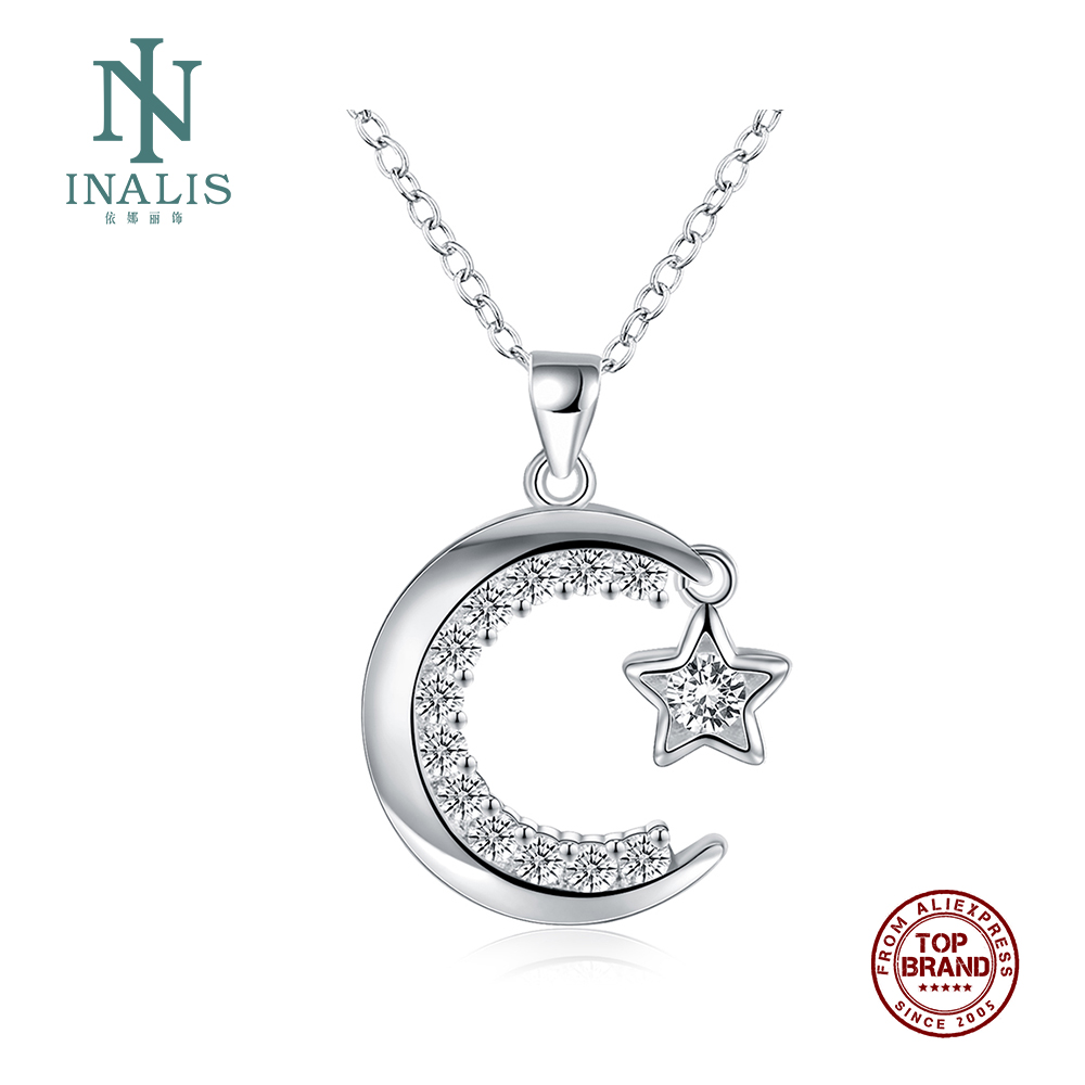 INALIS Women Necklaces Moon Star Design Pendant Copper Necklace Silver Plated Female Chains New Fashion Jewelry Girlfriend Gift